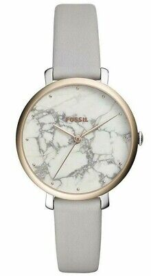 Fossil Jacqueline White Marble Rose Gold Leather Band Women's Watch ES4377 NWT ()
