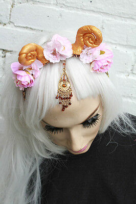 PINK FLORAL INDIAN BINDI PRINCESS FAIRY FAWN HORNED FLOWER CROWN HEAD BAND - Bindi Headband
