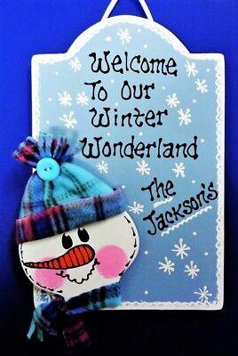 Personalize Name SNOWMAN Winter Wonderland SIGN Wall Door Hanging Hanger Plaque Name Snowman Winter Wonderland