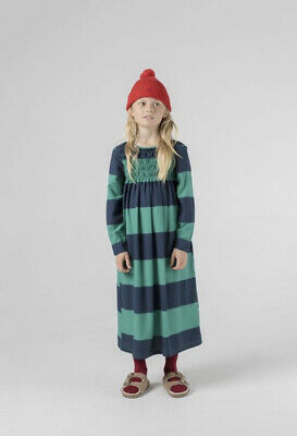 KIDS BOBO CHOSES BIG STRIPES FLOUNCE DRESS - GREEN 4-5 NWT