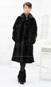 100-Real-Genuine-Long-Mink-Fur-Coat-Jacket-collar-full-length-black-outwaer