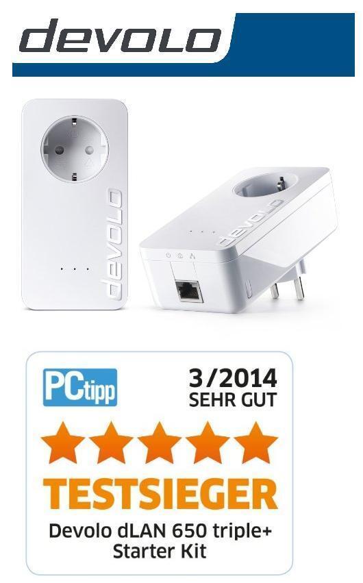 Devolo Starter-Kit 2 x dLAN 650+ 600 Mbit/s Powerline Powerlan Adapter