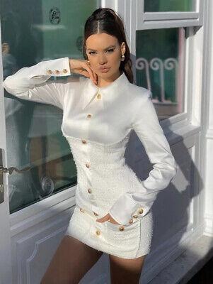 Tweed Satin Office White Shirt Mini Bodycon Elegant Dress Gold Buttons