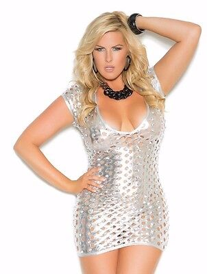 Silver Dress 2X Women Plus Bling Lame Cut Out Short Sleeve Sexy Deep V Cleavage - Silver Lame Shorts