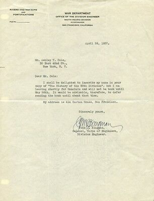 Colonel Army Corps of Engineers JOHN J. KINGMAN Signed Letter - 1937