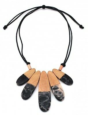 Black wooden resin statement necklace from Zoda