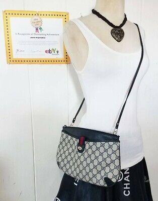 Vintage Gucci Crossbody Bag Clutch Purse GG Mono Web Stripe Ophidia Auth PVC 80s