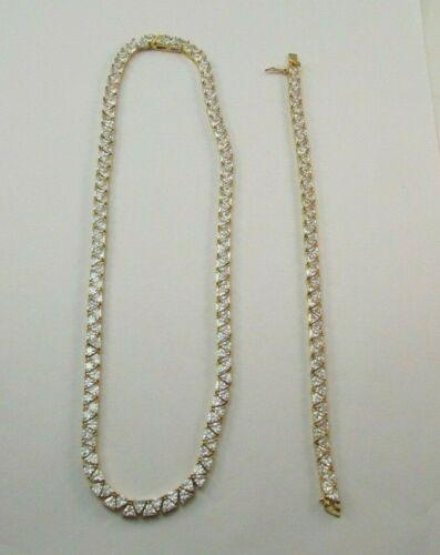 SUZANNE SOMERS 925 Sterling Silver Gold Vermeil Trillion Necklace & Bracelet Set