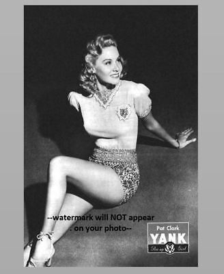 Sexy Pin-up Girl PHOTO WW2 Pinup Yank Magazine Girl Pat Clark 1945 US Army