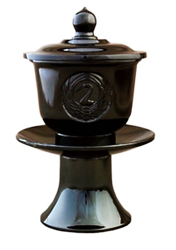 BRAND NEW JAPANESE BUDDHIST WATER OFFERING CUP CRANE BLACK ALTAR BUTSUDAN BRASS