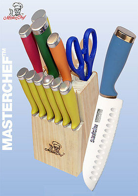 Masterchef 13pc Colorful Handle Santoku Knife Cutlery Set w/Block & Steak - Cutlery Steak Knife Set