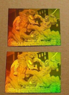 1993 Marvel Universe H-IV Spiderman vs Venom 3D Hologram 2 card Lot UnCIRCULATED