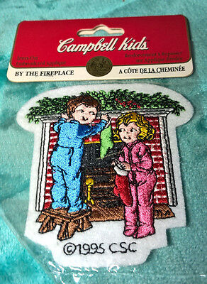 CAMPBELL'S ~ BY THE FIREPLACE ~ IRON ON APPLIQUE ~ CAMPBELL KIDS ~ NEW ~ 3.5""