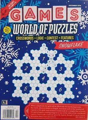 Snowflake Games (Games World of Puzzles December 2016 Snowflake FREE SHIPPING)