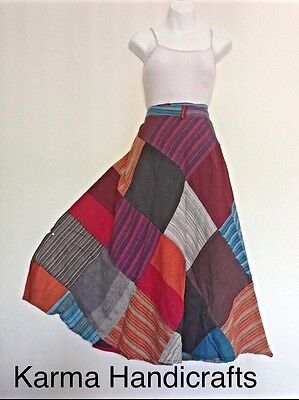 Cotton Wrap Around Skirts - Patchwork Cotton Wrap Around Skirt Dress Hippie Hobo Gypsy Handmade Nepal XS-XL