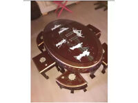 Oriental Chinese Mother of Pearl table and stopls