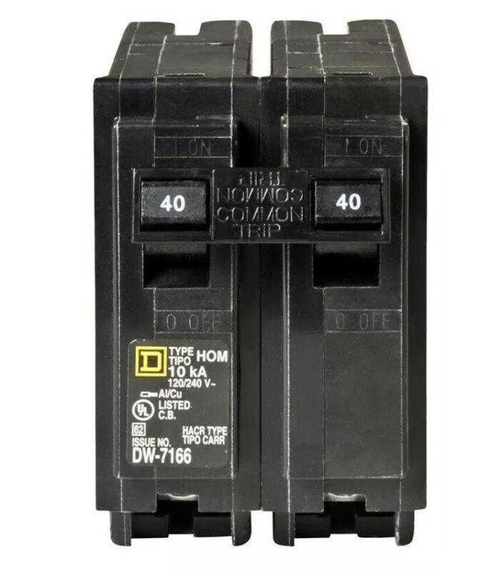 Square D Homeline HOM240 HOM240CP 2 Pole 40 Amp 240 Volt Circuit Breaker New