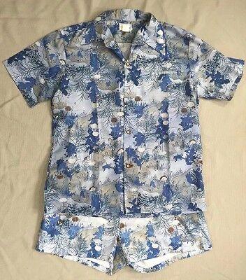 Vtg 1970's Andrade Asian Print Hawaiian Shirt & Shorts Swim Cabana Set Blue L XL