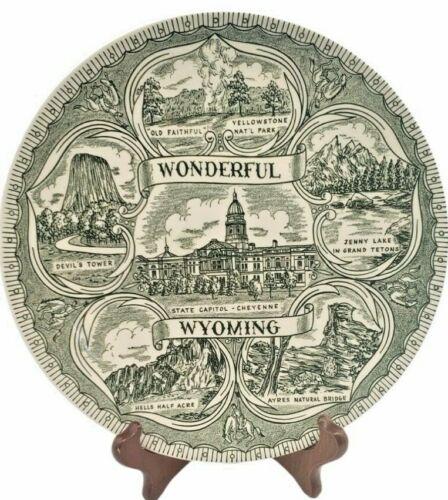 Vintage Green Wonderful Wyoming Souvenir Plate