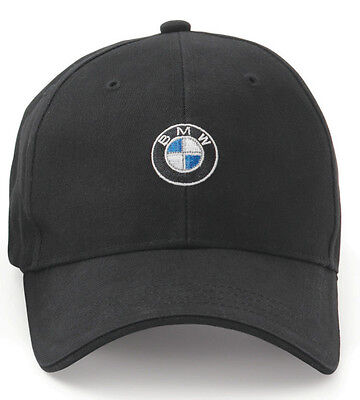 BMW Men's Baseball Cap, Roundel Logo Hat, 6 Panel Cotton Twill BLACK 80162208705