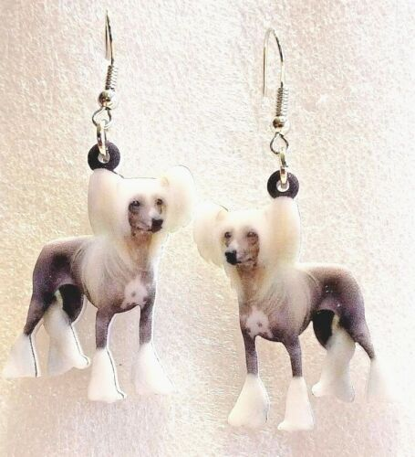 Chinese Crested Dog Realistic Double-Sided Silver Hook Earrings Acrylic Jewelry
