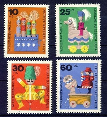 Germany Berlin**WOODEN TOYS-HORSE-DOLLS-4stamps-1971-Speelgoed-Jouets-sPIELZEUG