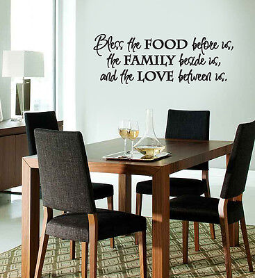 (vinyl wall lettering/decal/sticker Bless The Food kitchen dining room quote)