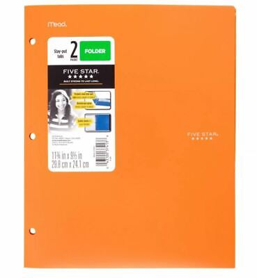 Lot Of 24 Mead Five Star 2 Pocket Plastic Folders Orange Stay Put Tabs Reinforce