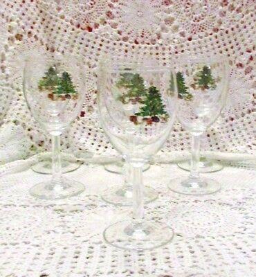 Christmas Wine Goblets W/Christmas Tree Designs Set 7 ()
