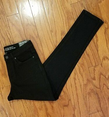 New Mossimo HIGH RISE Power Stretch Skinny Pants Dark Denim Jeans Black Size 4