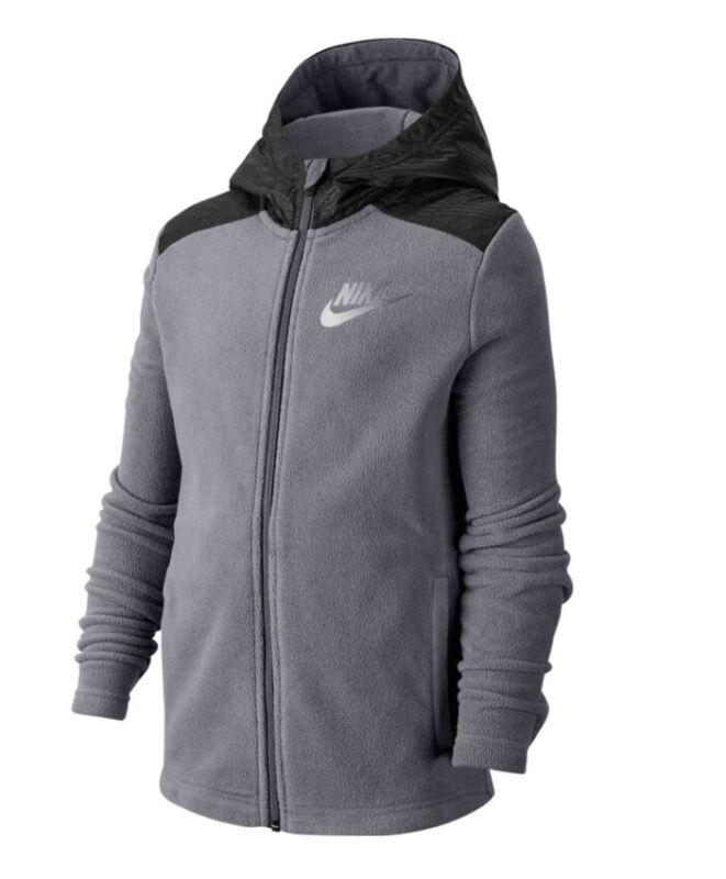 Nike Boy Sportswear Winterized Jacket Hoodie Grey Black BV4506 056  Sz Large $50