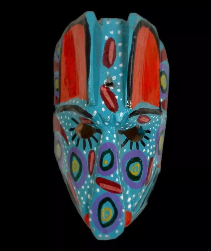 Colorful Hand Carved Wooden Mexican Mask