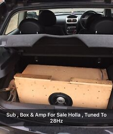 "Jbl 8"" sub and custom box with amp tuned 28hz"