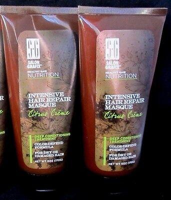 2 x SG Salon Grafix Intensive Hair Repair Masque Citrus Creme Conditioning 6 oz  ()