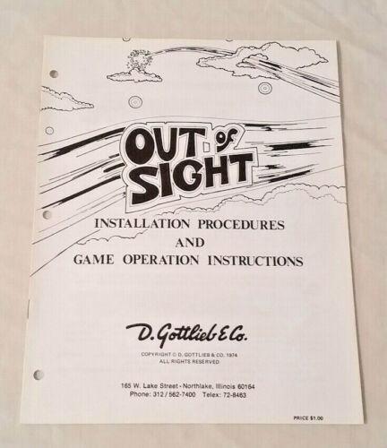 Gottlieb Out Of Sight Pinball Machine Original Manual NOS! Free Shipping! New!