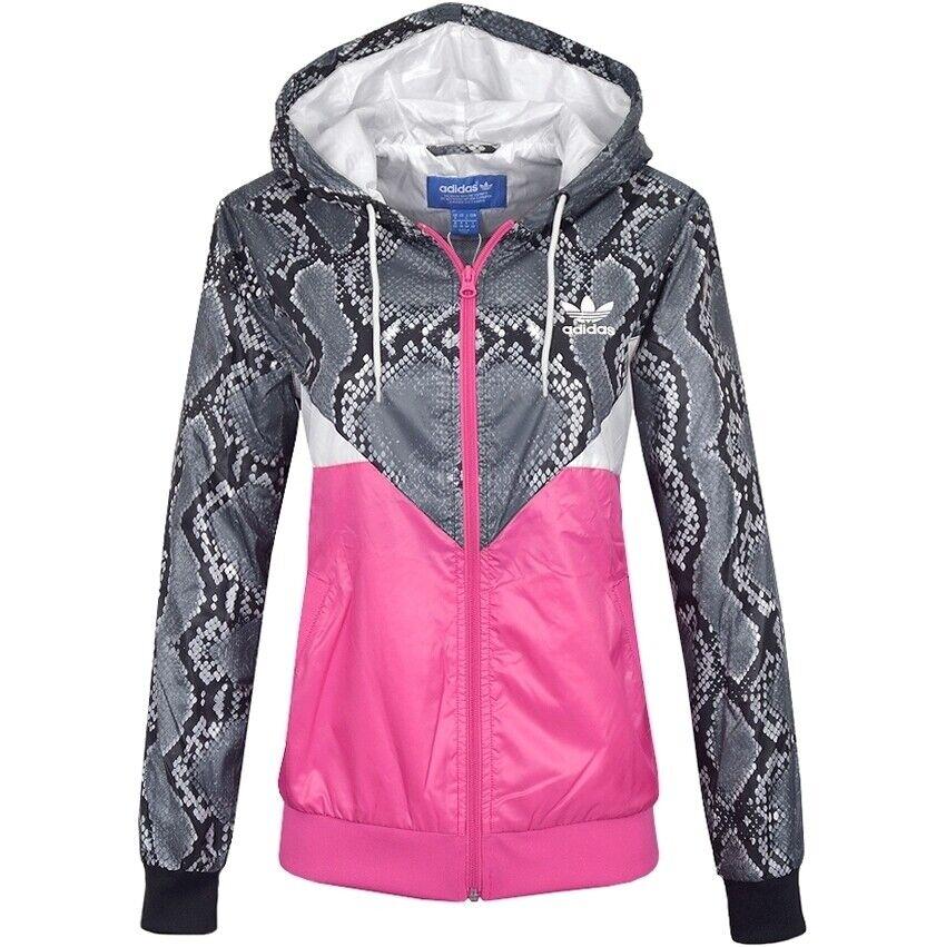 Adidas Colorado Windbreaker Damen Windjacke Regen Übergang Jacke grau/pink/weiss