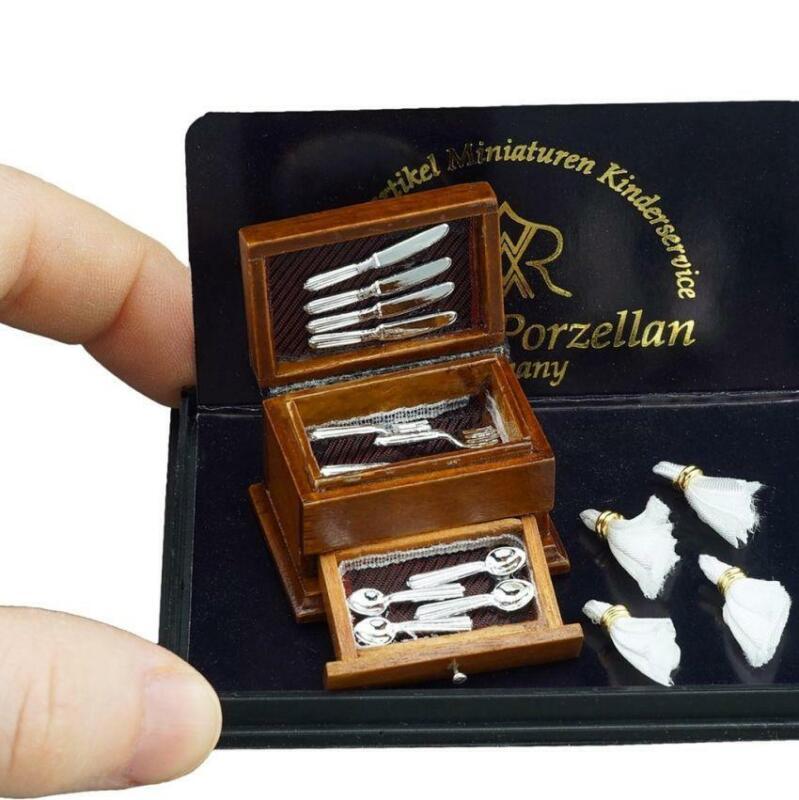 Cutlery Box 1.458/6 Filled Flatware Reutter Dollhouse Miniature