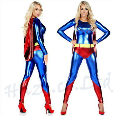 Ladies Super Hero Superwoman Super Girl Fancy Dress Costume Super Woman - Cool Girl Kostüm