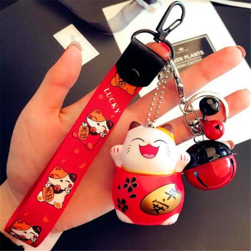 Hot Red Maneki Neko Fortune Lucky Beckoning Cat Bell Keyring Keychain Key Ring ♫