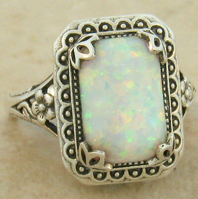 ANTIQUE STYLE LAB OPAL .925 SOLID STERLING SILVER RING SIZE 9,              #860