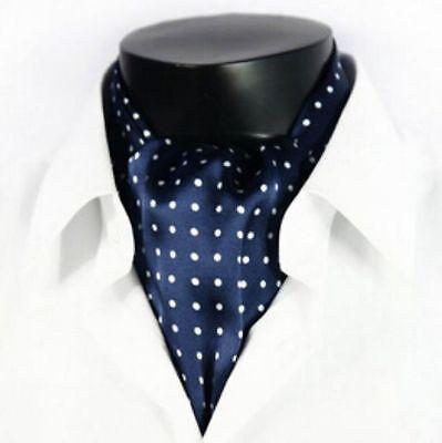 Mens 100% Silk Mulberry Long Scarf/Cravat Blue Blue White Dots ●M401#