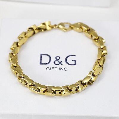 """DG Men's 8.5"""" Gold Stainless Steel 7mm Link Chain Bracelet,Unisex + Box"""