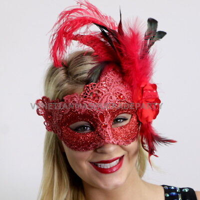 Red Masquerade Ball lace feather Halloween Xmas New Year costume party - Masked Ball Halloween Costume