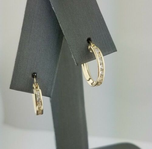 14K Solid Yellow Gold 0.25 CT Diamond Eternity Endless 2 MM Hoop Earrings Round