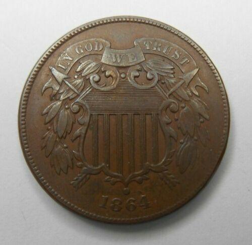 1864 US TWO ( 2 ) Cent Piece Large Motto Coin Better Grade XF AU Die Break Error