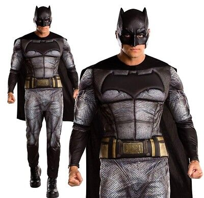 Adult DELUXE BATMAN Dawn of Justice League Fancy Dress Costume Mens Muscle - Batman Mens Costume