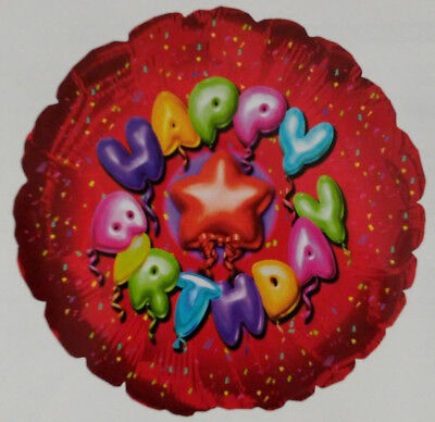 CTI Ballons - Happy Birthday - Red Confetti - Two Sided - 17