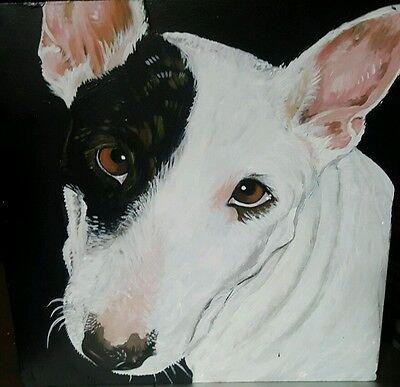 Custom hand painted dog urn Pet portrait memorial Lrg Wood box terrier pit bull