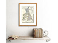 A1 size glass framed poster of Ire & UK map from 1884 (repro) £25