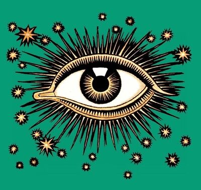 "Tropical Island Home Decor 2"" Sticker Illuminati Green Eye Stars Gold Trust No One Cool Egyptian Punk Skate"